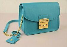 Di Gregorio 771 Turquoise Saffiano Leather Crossbody Shoulder Bag 100% Italian