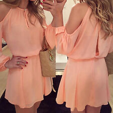 Women Long Sleeve Chiffon Evening Cocktail Party Summer Casual Mini Dress M Size