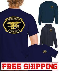 US USA USN Navy Seal Team 3  printed front and back T-SHIRT HOODIE SWEATSHIRT