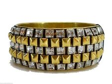 Fossil Bangle Bracelet Brass Ox Tone Crystal Boyfriend Bling Glitz Bangle New!