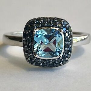 Blue Topaz Ring 925 Sterling Silver Sz 7 Square Faceted Rhodium Detailed