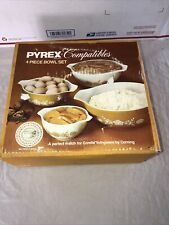 Vintage Pyrex Butterfly Gold White Yellow Mixing 4 piece Bowl Set New Sealed Box
