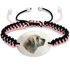 Catalan Sheepdog Mother Of Pearl Natural Shell Adjustable Knot Bracelet Bs157
