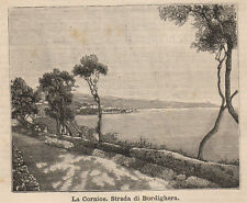1891 Bordighera La Cornice xilografia