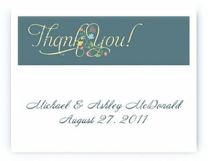 100 Custom Personalized Blue Yellow Floral Wedding Bridal Thank You Cards