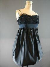 Vtg Betsey Johnson Mini Puff Skirt Punk Prom Satin Lace Black Dress 2 Xs