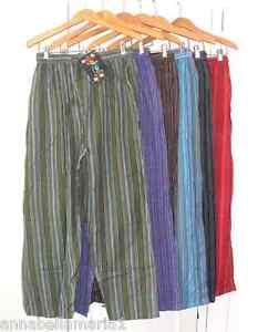 Gringo FAIR TRADE striped NEPALESE cotton TROUSERS baggy HIPPY yoga XL BNWT