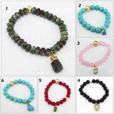 Natural Raw, Quartz, Turquoise, Emerald, Multi Stones Beads Bracelet Jewelry