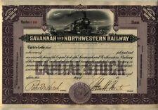 Savannah & Northwestern Railway Stock Certificate Georgia