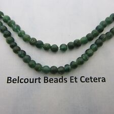 Aventurine Gorgeous Deep Green Emerald Color 4mm Round Handcut Beads 14""