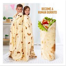 Novelty Realistic Food Burritos Tortillas Blanket Plush Round Hot Blanket Adult