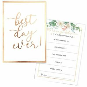 60x Best Day Ever Marriage Advice Cards for Weddings, Gold Foil, 5 x 7 Inches