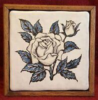 Vintage Wood Framed Ceramic Tile Hot Plate Trivet Rose Decoration Kitchen Decor