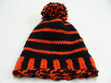 BLACK & ORANGE - HAND KNITTED - YOUTH OR ADULT S/M SIZE STOCKING CAP BEANIE HAT!