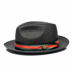 REMO I BRUNO CAPELO STRAW HAT   I BLACK W/ RED/BLACK/GREEN BAND