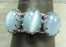 TRIPLE BLUE CAT'S EYE Sterling Silver 0.925 Estate Cocktail RING size 6