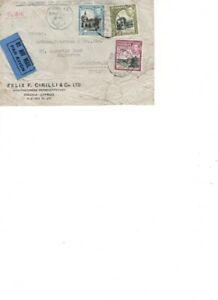 Cyprus used stamp cover. KGVI . WW2. Airmail. Customs & Excise.