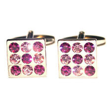 Silver Square With Pink Round Crystal Cufflinks & Gift Pouch Diamonds Glitter