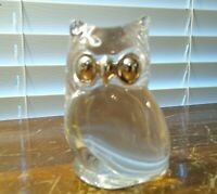 VINTAGE FRANKLIN MINT 1987 CRYSTAL OWL WITH SILVER EYES AND NOSE MADE IN FRANCE