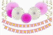 Baby Shower Decorations Its a Princess  Baby Shower Banners Paper Fans & Swirls