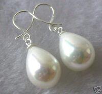 Stunning  Delicate 12x14mm white Shell Pearl Drop Dangle Earring