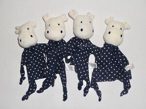 4 x TOPOMINI Ernsting's family HIPPO NILPFERD blau und weiß Sterne Schmusetuch