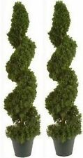 "2 TOPIARY 38""  ARTIFICIAL OUTDOOR TREE CEDAR SPIRAL CYPRESS JUNIPER EVERGREEN 3'"