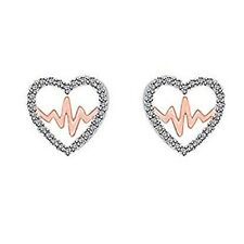 1/5CT Round Cubic Zirconia 14K Rose Gold Finish Heart Beat Promise Stud Earrings