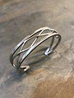 "7"", Vtg Mexico 925 Sterling Silver handmade Cuff Bracelet w/ wire wave details"