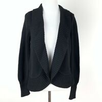 Talbots Womens sweater Size S black knit open front cardigan