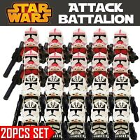 20Pcs Star Wars Wolf Pack Shock Clone Troopers Minifigures Custom MOC For Legos