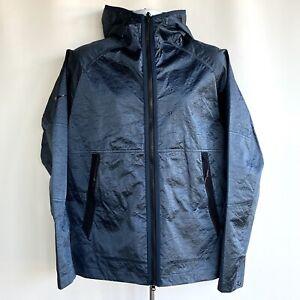 NIKE Jacket Men's New Size Medium Tech Pack Woven Hooded Deep Blue Windbreaker