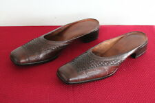 Sesto Meucci Brown Woven Leather Slip on Heeled Mules Shoes Women Size 9N Narrow