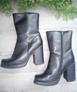 Vintage 90s Y2K No Boundaries Square Toe Chunky Platform Boots Zip Black 8