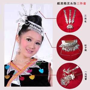Miao silver comb 1piece,1bird hairpin1pece,1piece feather hairpin (3Pieces 1set)