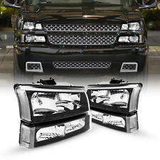 For 03 06 Chevy Silverado Avalanche Black Housing Clear Headlight Bumper Lamps Fits More Than One Vehicle