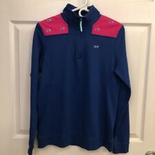 VINEYARD VINES RACE STRIPE SHEP SHIRT COVE BLUE RED YOUTH LARGE NWT WHALE