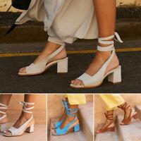 Ladies Peep Toe Slingback Sandal Women Bandage Lace Up Med Block Heel Shoes Size