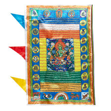 """36"""" TIBET WIND HORSE PRAYER FLAG:  GREEN TARA SUTRA SAVE YOU FROM TROUBLED WATER"""