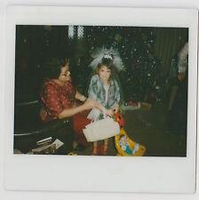 VINTAGE 80s Kodak Instant Film PHOTO Grandma Little Girl Playing Dress Up & Doll