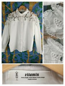 Vitamin Shirt 10-12 Korean White Cotton Lace Sh. Dolman Batwing L. Sleeve blouse