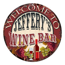 Cmwb-0118 Welcome to Jeffery'S Wine Bar Chic Tin Sign Man Cave Decor Gift