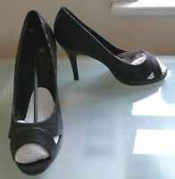 Wallis Ladies Shoes 7 40 Black Peep Toe High Heel Cobra Party Occasion EUC £40