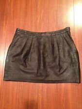 L'Agence Black Lambskin Leather Mini Skirt Sz 3 Large