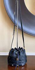 Auth MCM Quilted Black Mini Leather Drawstring W/ Tassels Crossbody Bucket Bag