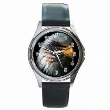 American Pride Bald Eagle USA Flag Leather Watch New!