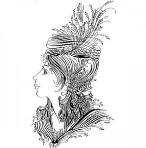 Finesse Elegant Woman Lady Flourishing Quill  Stampington And Co Wood Mount Rubb