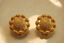 GAY BOYER COUTURE RUNWAY BOLD GOLD TONED METAL OLD ETRUSCAN STYLE CLIP EARRINGS