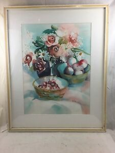 Orig. Vint. signed Nordia Kay Marblehead Floral Still Life Watercolor Painting