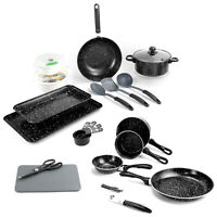21pc Kitchen Starter Set Black Marble Look Pots Pans Cookware Bakeware Utensils